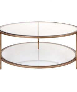 Cocktail Glass Top Iron Round Coffee Table, 100cm, Antique Gold