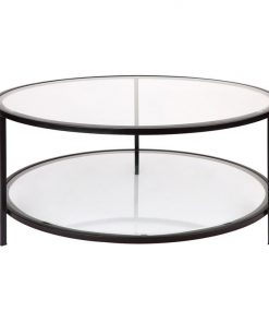 Cocktail Glass Top Iron Round Coffee Table, 100cm, Black