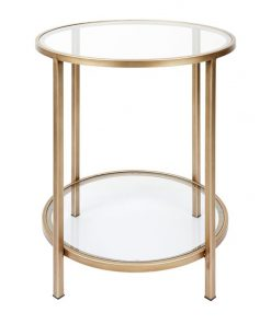 Cocktail Glass Top Iron Round Side Table, Antique Gold