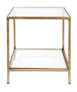Cocktail Glass Top Iron Square Side Table, Antique Gold