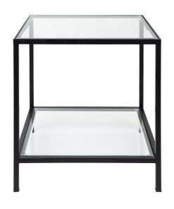 Cocktail Glass Top Iron Square Side Table, Black
