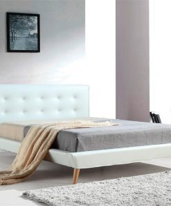 Double PU Leather Deluxe Bed Frame White | Afterpay | zipPay