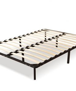 Metal Bed Frame Mattress Base with Timber Slats Air BnB Double Size