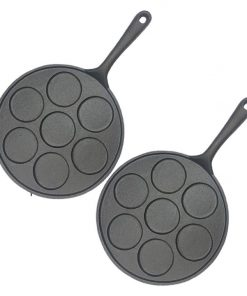SOGA 2X 23cm Cast Iron Non Stick Takoyaki Fry Pan Octopus Balls Maker 7 Hole Cavities Grill Mold