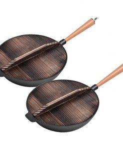 SOGA 2X 31cm Commercial Cast Iron Wok FryPan Non-Stick Fry Pan with Wooden Lid