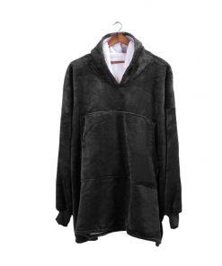 2 Pcs DreamZ Plush Fleece Sherpa Hoodie Sweatshirt Huggle Blanket Pajamas Grey
