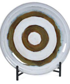 Arizona Ceramic Glazed Plate With Stand - White/Brown