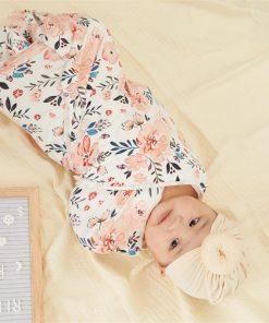 2 Pcs Baby Cotton Floral Swaddle Blankets Hat Soft Sleeping Blanket Wrap Set Newborn Baby Bedding Blanket