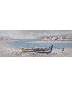 """""""Boats Ashore"""" Stretched Textured Canvas Wall Art, 150cm"""
