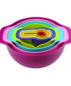 10 Pcs Nesting Rainbow Measuring Cups Mixing Bowls With Handles