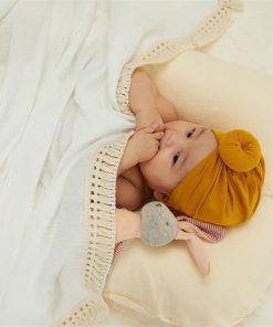 1100% Cotton Solid Soft Newborn Baby Blanket Vintage Tassel Swaddle Toddler Baby Girls Boys Blanket Gift