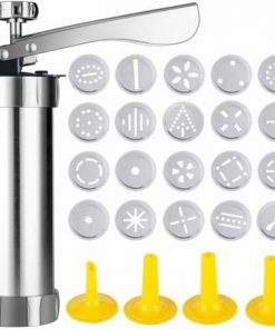 Cookie Biscuit Stainless Steel Press Maker with 20 Cookie Dies and 4 nozzles for Homemade Baking Tool
