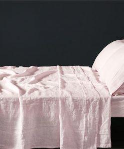 Vintage Design Blush French 100% Linen Sheet Set - Single Bed