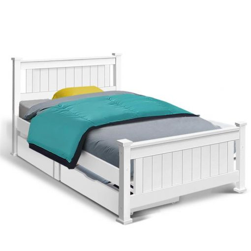 Wooden Bed Frame Timber Single Size RIO Kids Adults Storage Drawers Base