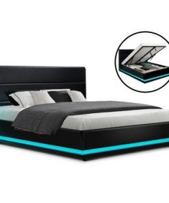Artiss RGB LED Bed Frame Double Full Size Gas Lift Base Storage Black Leather LUMI