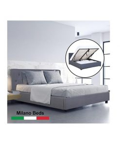 Milano Capri Luxury Gas Lift Bed Frame Base And Headboard Charcoal